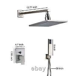 10Brushed Nickel LED Shower Faucet Luxury Rainfall Shower Head WithHand Sprayer