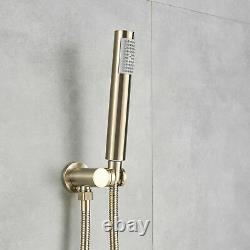 12Brushed Gold Luxury Shower Faucet Tub Spout Round Shower Head Tap WithHandheld