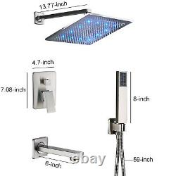 12Brushed Nickel LED Rainfall Luxury Shower Faucet Tub Spout WithHand Sprayer