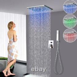 12Chrome LED Shower Faucet Ceiling Mount Luxury Square Shower WithHand Spray