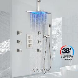 12LED Rain Shower Faucet Thermostatic Massage System With Spray Brushed Nickel