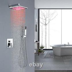 12 Inch Chrome LED Rainfall Square Shower Head WithHand Shower Shower Faucet Set