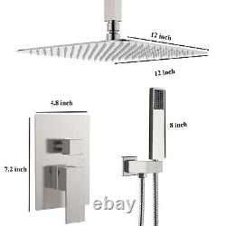 12 inch LED Rain Shower Combo Set Square Shower Head With Hand Shower Brushed