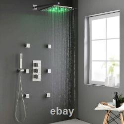 16 Inch LED Shower Head Brushed Nickel Thermostatic Shower Faucet Set Combo