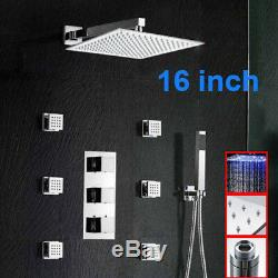 16''LED Shower Head Faucet Thermostatic Valve Mixer Tap Jets Rain Wall Mount Arm