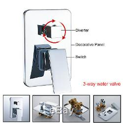 22Chrome LED Rain&Waterfall Shower Faucet Luxury Shower System WithHand Sprayer