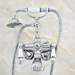 3-3/8 Tub Mount Clawfoot Tub Faucet With Hose & Spray Polished Chrome