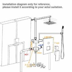 3 Function Shower Faucet System Set 12 Rainfall Head With Mixing Valve Wall Mount