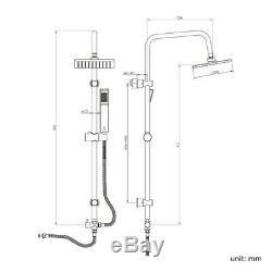 3 Way Square Rigid Riser Shower Kit & Thermostatic Bath Shower Mixer Tap Square