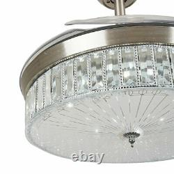42 Crystal Ceiling Fan Lights LED Dimmable Chandelier Retractable Fan with Remote