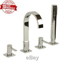 4 Hole Bath Shower Mixer Tap Square Modern Chrome Straight Handles Solid Brass