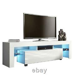 51 High Gloss LED TV Stand Entertainment Furniture Center Console Cabinet White