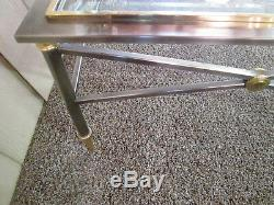 54651 LABARGE Modern Chrome and Brass Coffee Table Stand DESIGN INSTITUTE