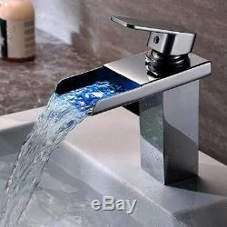7 LED Bathroom Faucet Waterfall Chrome/Brushed Nickel/Oil Rubbed Bronze Vessel