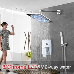 8Chrome LED Shower Faucet Rainfall Wall Mount Luxury Shower System WithHandheld