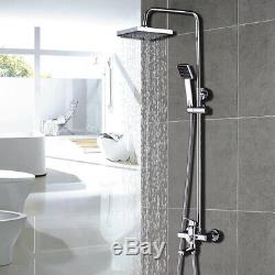 8 Rainfall Chrome Bathroom Shower Faucet Tub Mixer Tap WithHandheld Wall Mounted