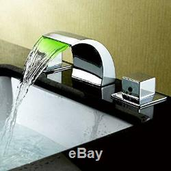 8'' Widespread LED Waterfall Bathroom Basin Sink Faucet Mixer Tap Chrome Brass