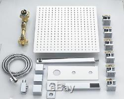 8-inch Chrome Shower Faucet System Square Rainfall Thermostatic Massage Jets Tap