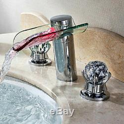Bathroom LED Lighted Waterfall Sink Faucet Tap with Crystal Handles Widespread
