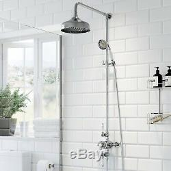 Bathroom Shower Mixer Thermostatic Set Twin Head Round Square Exposed Chrome