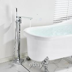 Bathtub Faucet Chrome Free Standing Waterfall Floor Mount Tub Tap WithHand Spray