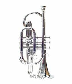 Bb FLAT CORNET CHROME PLATED WITH FREE HARD CASE+MOUTHIPIECE+FAST SHIPPING