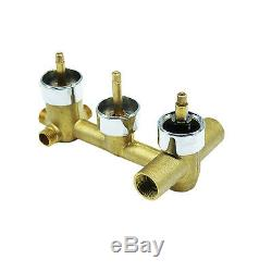 Brass Chrome Concealed 3-Way Thermostatic Valve Shower Mixer with Round Knobs