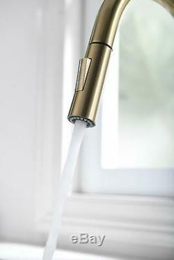 Brushed Gold Kitchen Sink Faucet With Pull Out Sprayer Single Handle Deck Mount