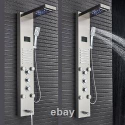 Brushed Nickel LED Shower Panel Rainfall&Waterfall Tower Massage System Tap