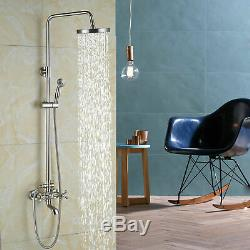 Brushed Nickel Rain Shower Faucet Set Tub Spout Mixer Tap Hand Shower Wall Mount