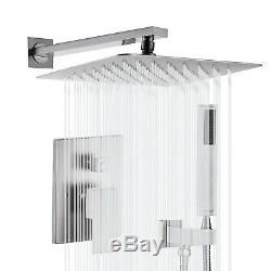 Brushed Nickel Shower Faucet 16 inch Rainfall Shower Head with Hand Shower Tap