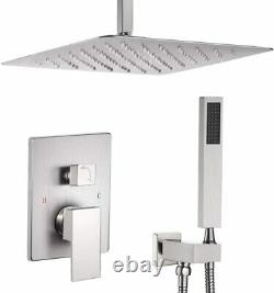 Brushed Nickel Shower Faucet set 16 inch Rainfall Head Combo kit Ceiling Mounted