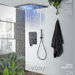 Ceiling Mounted 12 inch LED Shower Faucet Set Rainfall Hand Shower Mixer Tap