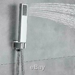 Chrome 16 LED Shower Faucet Set Ceiling Mounted With Hand Shower Mixer Tap