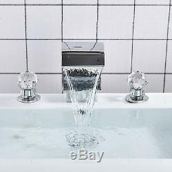 Chrome 2 Crystal Handle 3Hole Bathroom Sink Faucet Basin Waterfall Spout Mix Tap