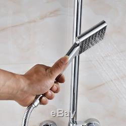 Chrome 8Rainfall Shower Faucet Set Wall Mounted WithHandheld Tub Mixer Tap
