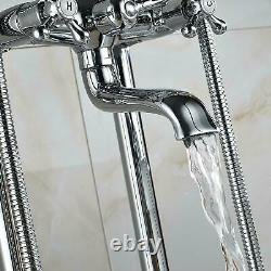 Chrome Floor Mounted Free Standing Bathtub Faucet Tub Filler With Handheld Shower