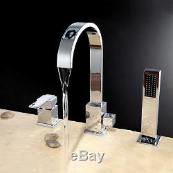 Chrome Roman Tub Faucet with Handheld Spray Deck Mount Shower Set for Bathroom