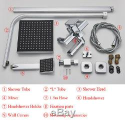 Chrome Shower Faucet 8 inch Square Shower Head With Tub Filler Hand Shower Mixer