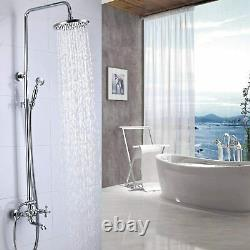Chrome Shower Faucet Set Exposed 8Rain Shower with Handheld Shower Tub Tap