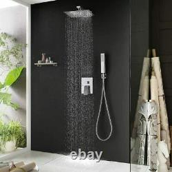 Chrome Shower Faucet System Set 12 inch Rainfall With 2-Functions Mixing Valve