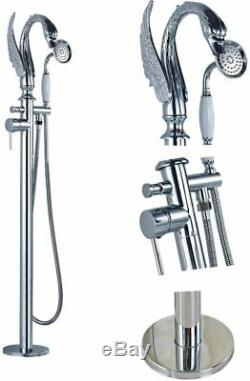 Chrome Swan Spout Basin Tub Faucet With Handheld Shower Mixer Tap Floor Mounted
