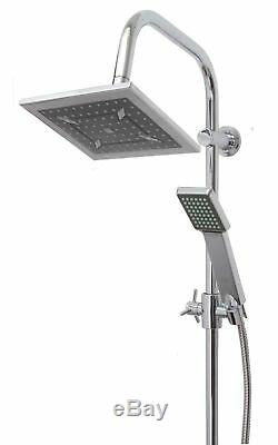 Chrome Waterfall Bath Shower Mixer Tap With 3 Way Square Rigid Riser Shower Kit
