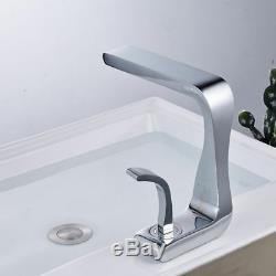 Chrome Waterfall Spout Bath Basin Faucet Single Handle Vanity Sink Deck Mounted