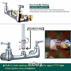 Commercial Sink Kitchen Faucet Pull Down Pre-rinse Sprayer 8'' Center Wall Mount