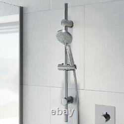 Concealed Thermostatic Round Shower Wall Mounted Adjustable Head Bathroom Chrome