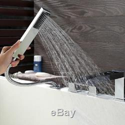 Contemporary Waterfall Roman Tub Filler Faucet Bath Mixer with Handshower Chrome