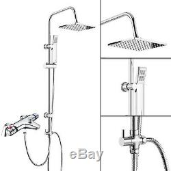 Deck Mounted Thermostatic Bath Shower Mixer Tap, 3 Way Shower Square Rigid Riser