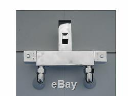 Deck Mounted Thermostatic Bath Shower Mixer Taps, Square Style, 1/4 Turn, 057sqd
