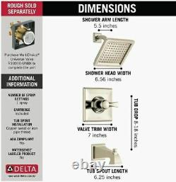 Delta T14451-PN Dryden Monitor 14 Series Tub and Shower Trim, Polished Nickel